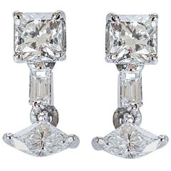 Fancy Square Diamond Dangler Earrings