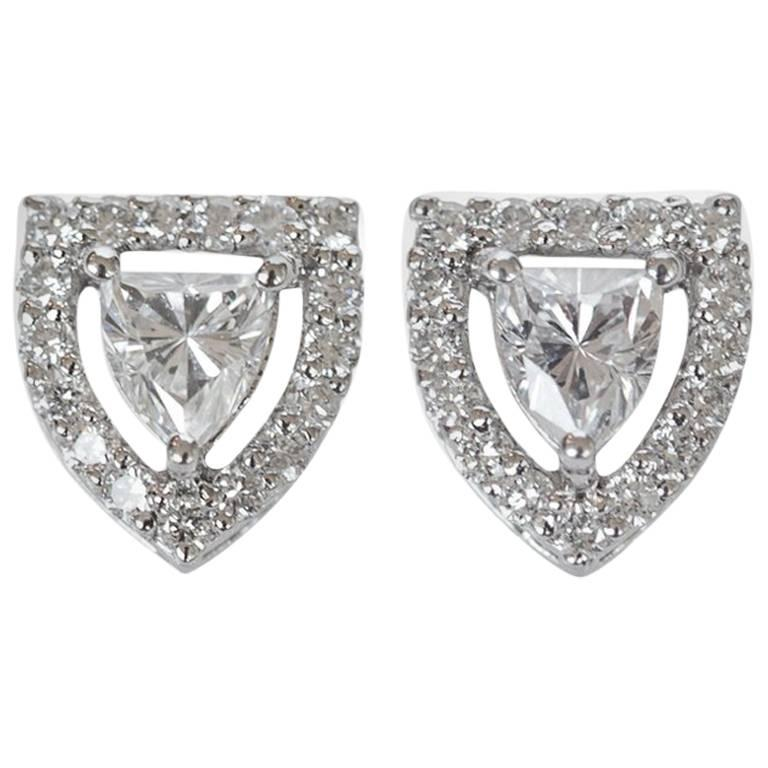 Fancy Shield Shape Diamond Stud Earrings For Sale