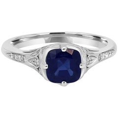 Blue Sapphire Diamond Gold Engagement Ring