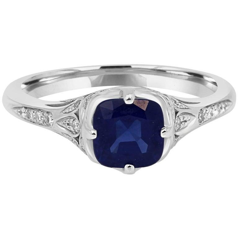 Blue Sapphire Diamond Gold Engagement Ring