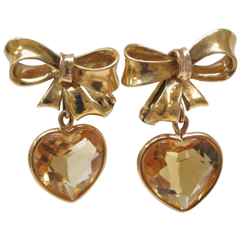 Citrine Heart Dangle Yellow Gold Earrings