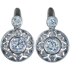 Antique Diamond Platinum Gold Openwork Earrings