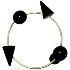 Modernistic Blackened Steel Bracelet