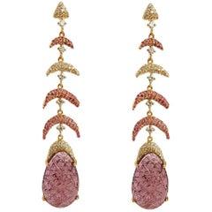 Carved Tourmaline Earrings