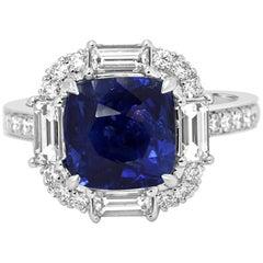 GIA Certified Ceylon Blue Sapphire Diamond Halo Gold Bridal Fashion Ring