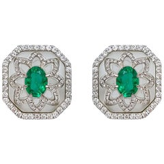 Rock Crystal and Emerald Earrings