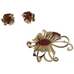 14 Karat Yellow Gold Ruby Suite with Brooch