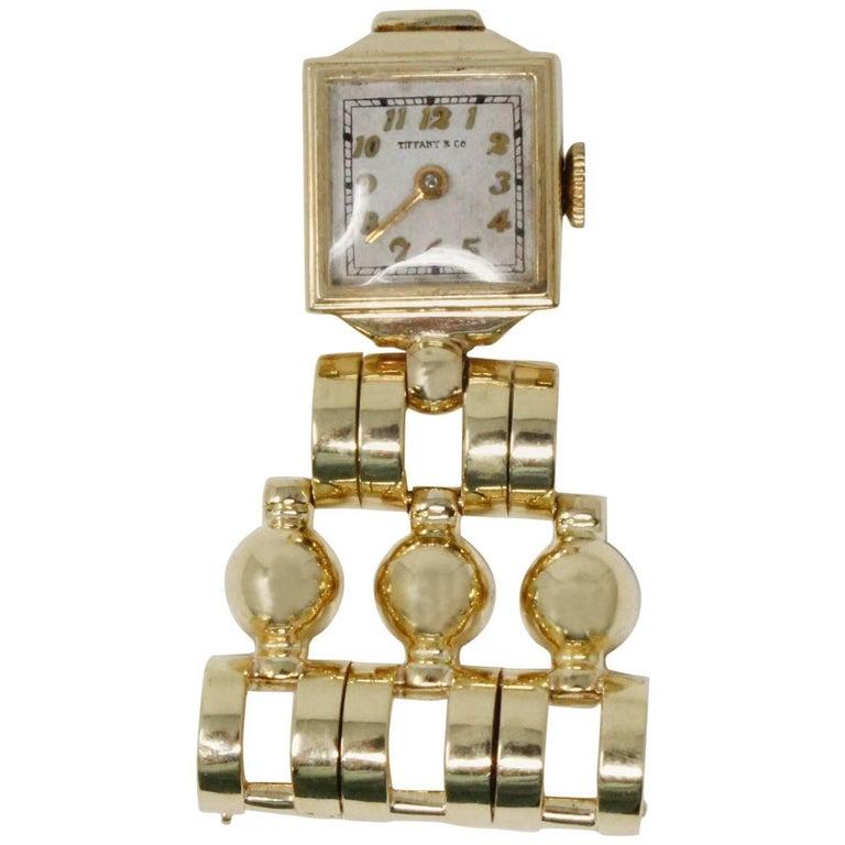 14 Karat Yellow Gold 1940s Tiffany & Co. Retro Lapel Watch