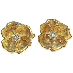 Vintage Diamond and Gold Dogwood Flower Earrings