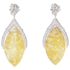 Carved Citrine Earrings