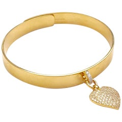 Clarissa Bronfman 14k Gold Bangle with Diamond Heart