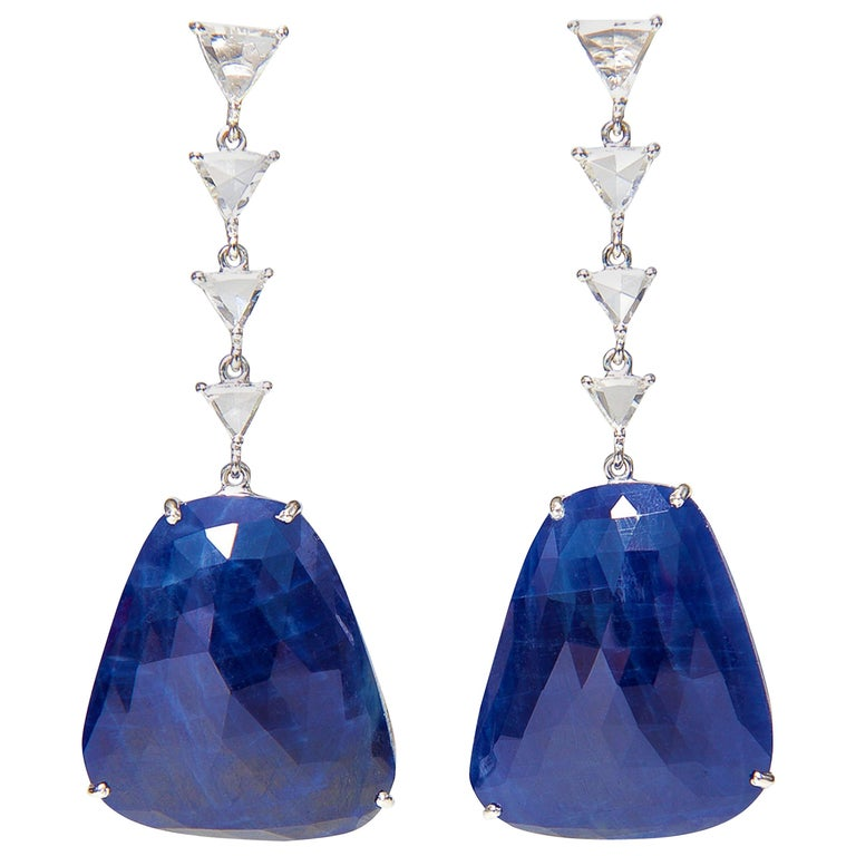 Sapphire Slice and Diamond Earrings