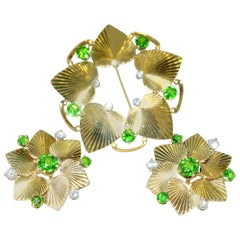 Tiffany & Co. Retro Demantoid and Diamond Set, circa 1950
