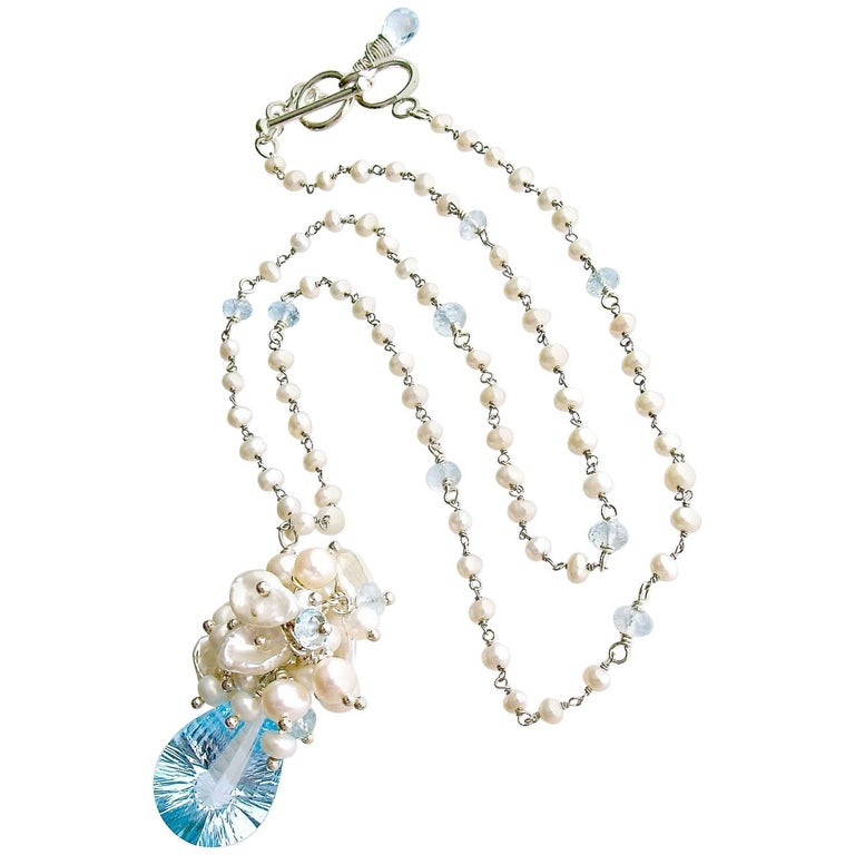 Fancy Cut Blue Topaz Seed Pearl Cluster Pendant Necklace