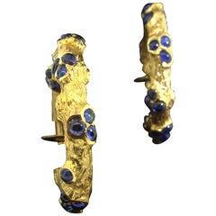 Cartier Sapphire Bamboo Hoop-Style Earrings, circa 1960
