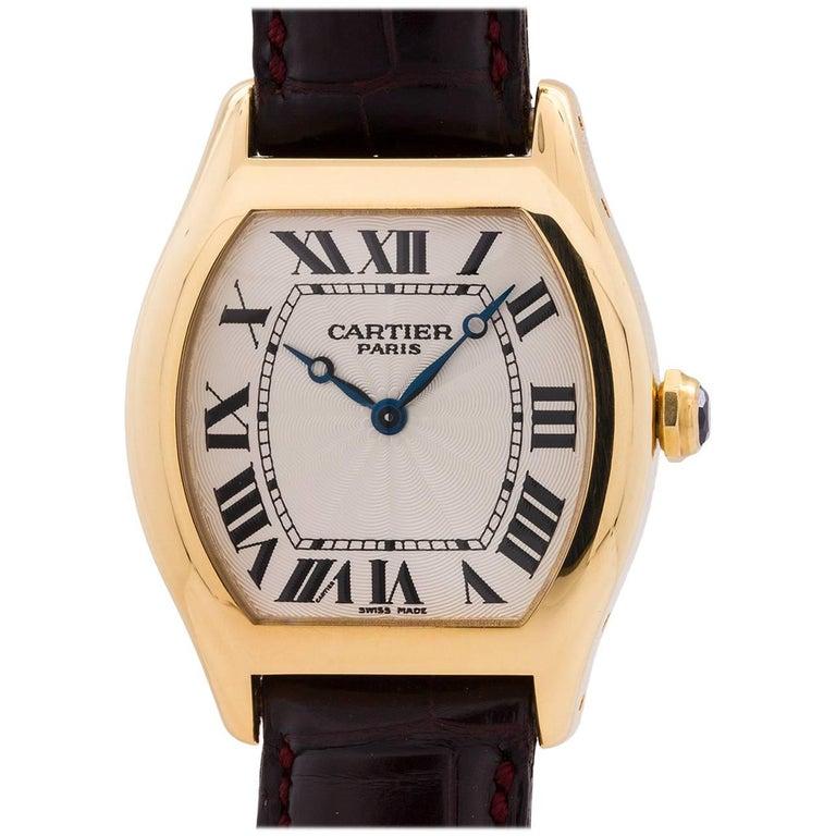 Cartier Yellow Gold Tortue manual wind Wristwatch, circa 1990s