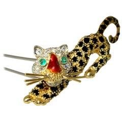 18 Karat Gold Panther Double Clip Brooch