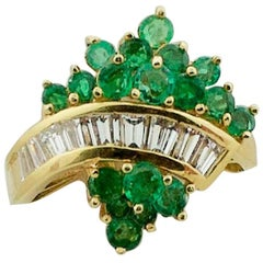 Emerald and Diamond in 18 Karat Yellow Gold Ring