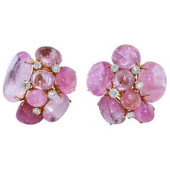 Pink Tourmaline and Diamond Earclips