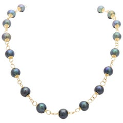 Vintage Handmade Black Pearl and 14 Karat Gold Necklace