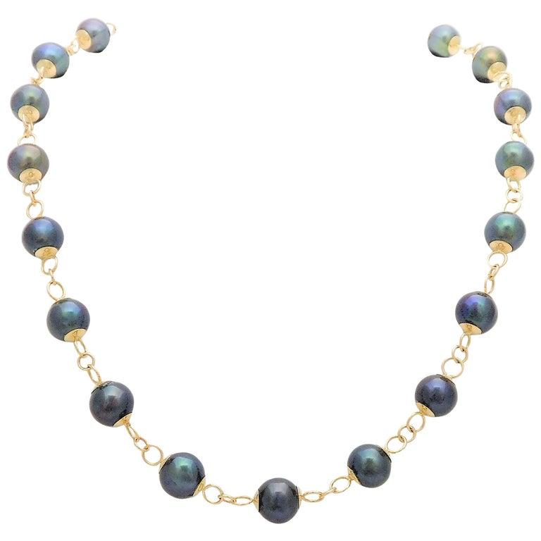 Vintage Handmade Black Pearl and 14 Karat Gold Necklace