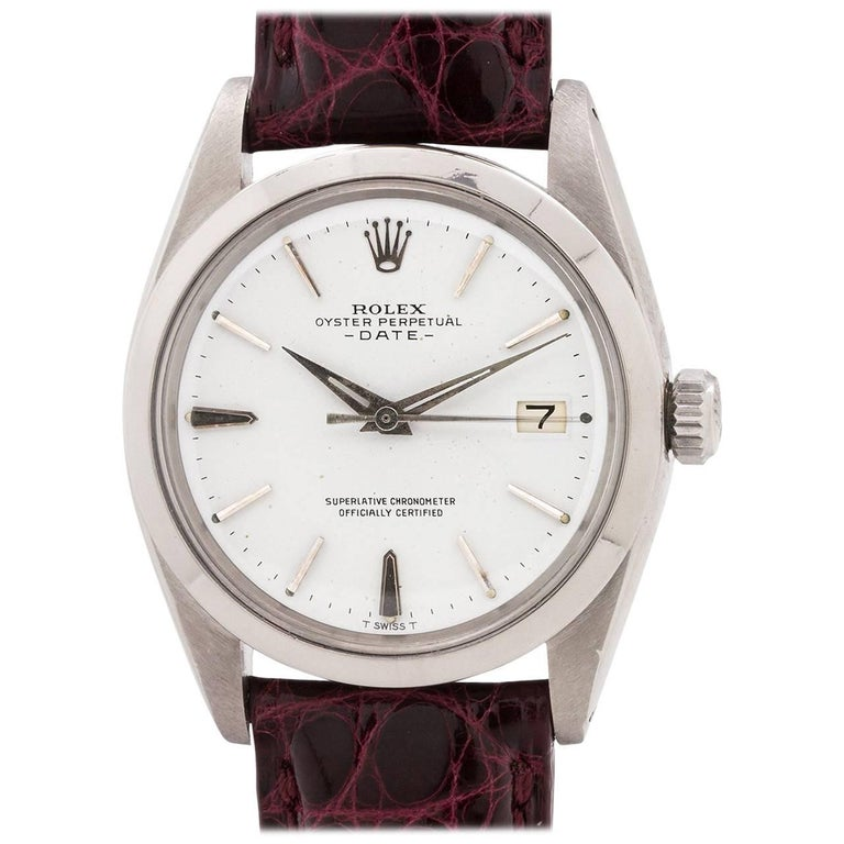 Rolex Stainless Steel Oyster Perpetual Date Self Winding Wristwatch Ref 1500