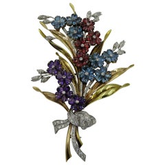 Platinum, Diamond, Aquamarine, Citrine and Amethyst Flower Spray Brooch