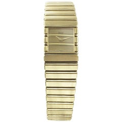 18 Karat Gold Piaget Quartz Dress Watch Gold Polo Bracelet Slim Appearance