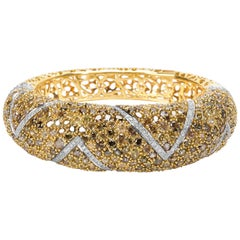 BRAND NEW Fancy Yellow Diamond Encrusted Bangle in 18K Gold 35.32 Carats