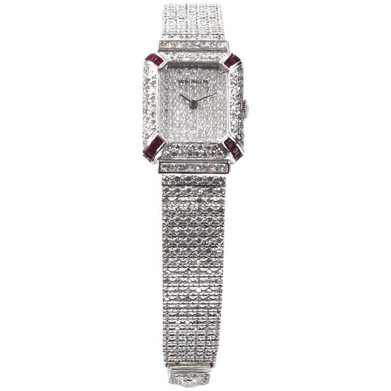 Patek Philippe Ladies White Gold Diamond Ruby Wristwatch