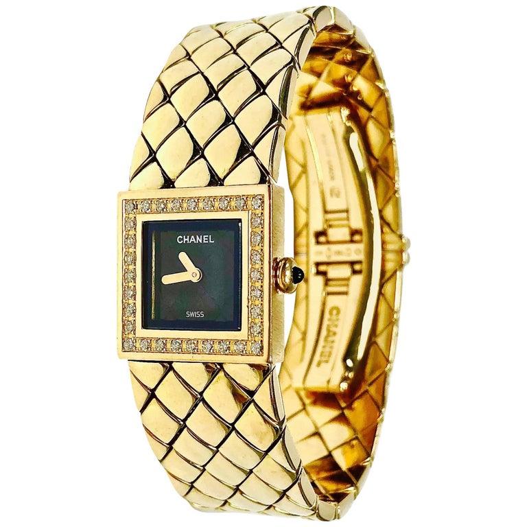 Chanel Ladies Yellow Gold Diamond Matelasse Quartz Wristwatch