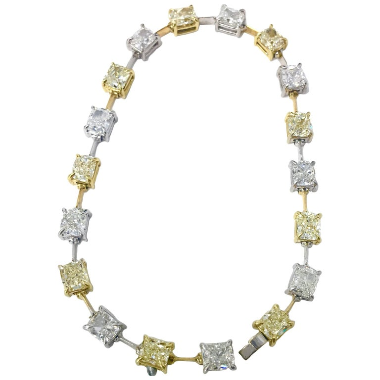 Yellow and White Cushion Diamond Bracelet over 9 Carat