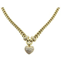 Custom Gold Diamond Heart Pendant Necklace with 18 Karat Miami Cuban Link Chain