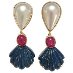 A. Clunn Drop Earring with Mave Pearl and Rubellite and Carved Sea Shell Lapis