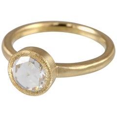 .48 Carat Bezel Set Rose Cut Diamond Ring with Matte 18 Karat Gold Hammered Band