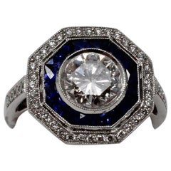 Platinum Ring with Diamonds and Sapphires