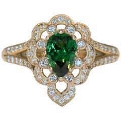 .98 Carat Pear Tsavorite Green Garnet and Diamond Ring