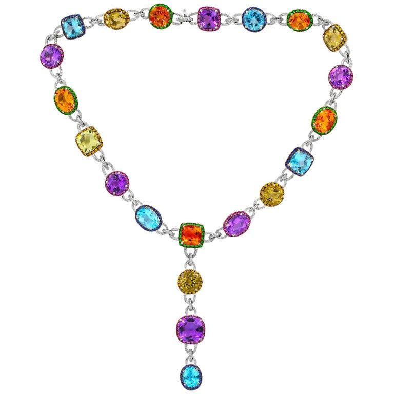 Multicolored Semi-Precious Colored Stones Diamond Necklace