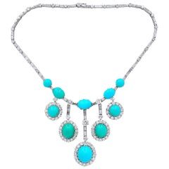 One of a Kind Turquoise and Diamond Necklace