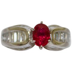 Stunning Ruby and Diamond Platinum Ring in Platinum