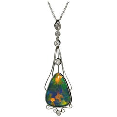 Art Nouveau Black Opal Diamond Platinum Antique Necklace Lightning Ridge
