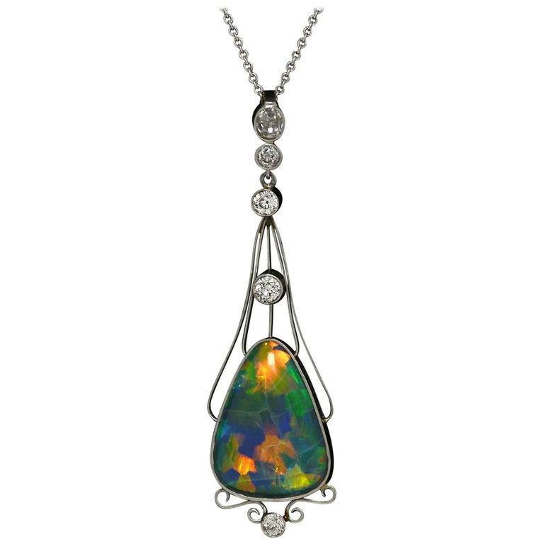 Art Nouveau Black Opal Diamond Platinum Antique Necklace Lightning Ridge