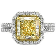 Mark Broumand 3.81 Carat Fancy Light Yellow Radiant Cut Diamond Engagement Ring
