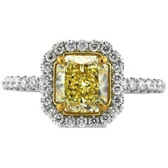 Mark Broumand 2.01 Carat Fancy Intense Radiant Cut Diamond Engagement Ring