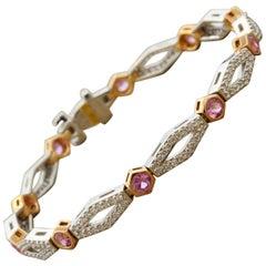 Neil Joseph Diamond Pink Sapphire Gold Bracelet