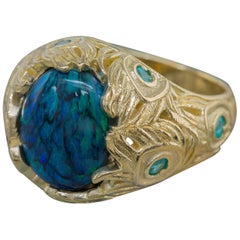 3.82 Carat Black Opal with Paraiba Tourmaline Peacock Ring in 18K Yellow Gold