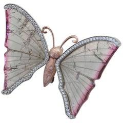 Watermelon Tourmaline Butterfly Brooch Pendant with Diamond Wings