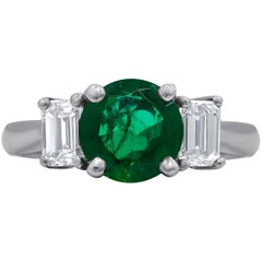 Three-Stone Classic Emerald and Diamond Ring