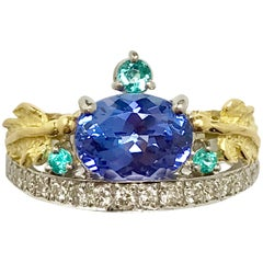 Matsuzaki Pt900 K18 Tanzanite Paraiba Tourmaline Diamond Crown Style Ring