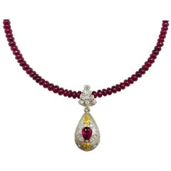 Matsuzaki Pear-shaped Ruby Diamond Locket Pill Box Gold Pendant Beads Necklace